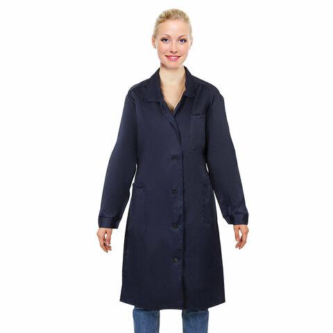 Халат технолога женский синий, смесовая ткань, размер 52-54, рост 158-164, плотность ткани 200 г/м2, 610776