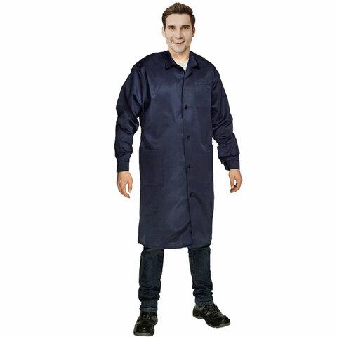 Халат технолога мужской синий, смесовая ткань, размер 60-62, рост 182-188, плотность 200 г/м2, 610798
