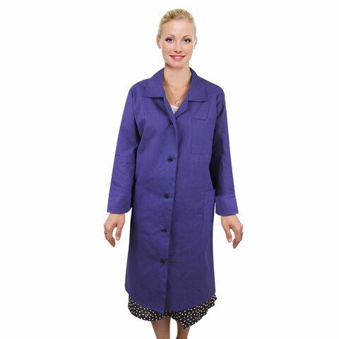Халат рабочий женский синий, бязь, размер 56-58, рост 158-164, плотность 142 г/м2, 610805