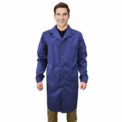 Халат рабочий мужской синий, бязь, размер 60-62, рост 170-176, плотность 142 г/м2, 610819