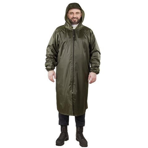 Плащ-дождевик цвета хаки на молнии многоразовый с ПВХ покрытием, размер 52-54 (XL), рост 170-176, ГРАНДМАСТЕР, 610847
