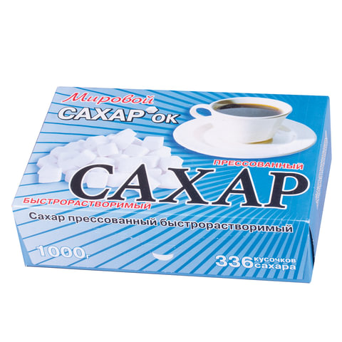 Сахар-рафинад 1кг (336 кусочков, размер 12х14х15 мм), картонная упаковка, 500286