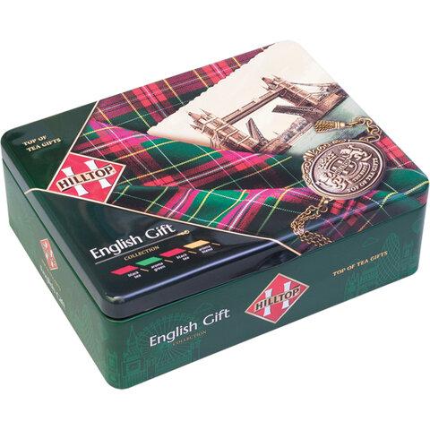 Чай HILLTOP «Английская шкатулка», 4 чайницы с коллекцией чаев и заварная ложка-ситечко, 200 г, F501