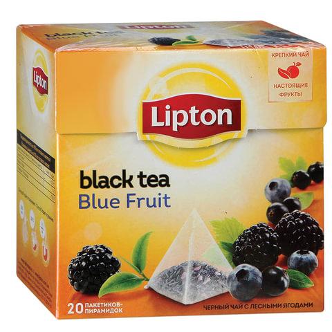 """Чай LIPTON (Липтон) """"Blue Fruit"""", черный с ежевикой, смородиной и черникой, 20 пирамидок по 2 г, 21187904"""