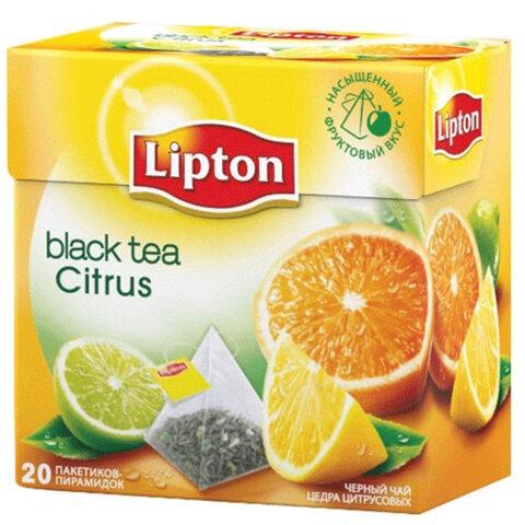 """Чай LIPTON (Липтон) """"Citrus"""", черный с цедрой цитрусовый, 20 пирамидок по 2 г, 21187919"""