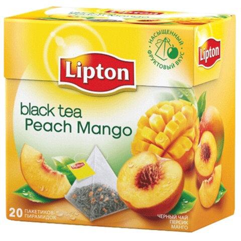 """Чай LIPTON (Липтон) """"Peach Mango"""", черный с персиком и манго, 20 пирамидок по 2 г, 21187946"""