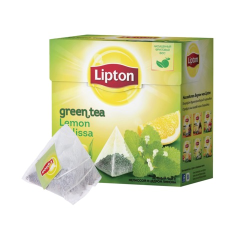 "Чай LIPTON (Липтон) ""Green Lemon Melissa"", зеленый, 20 пирамидок по 2 г, 21187930"