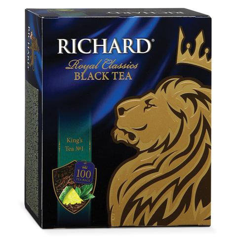 """Чай RICHARD (Ричард) """"King's Tea №1"""" (""""Кингс Ти""""), черный, ароматизированный, 100 пакетиков по 2 г, 610302"""