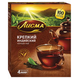 """Чай ЛИСМА """"Крепкий"""", черный, 100 пакетиков по 2 г, 201933, 201943"""