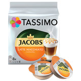 "Кофе в капсулах JACOBS ""Latte Macchiato Caramel"" для кофемашин Tassimo, 8 шт. х 7 г + капсулы с молоком 8 шт. х 26,5 г, 8052186"