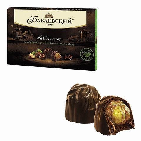 Конфеты шоколадные БАБАЕВСКИЙ, с цельным фундуком и ореховым кремом, темный шоколад, 200 г, ББ12692