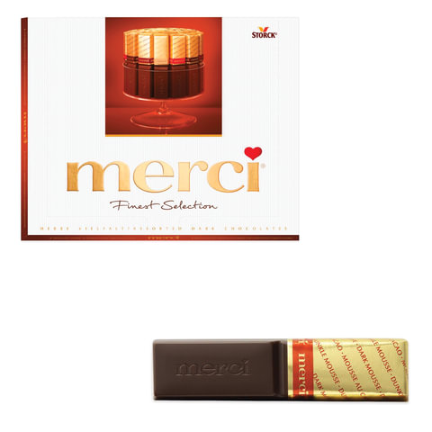 Конфеты шоколадные MERCI (Мерси), ассорти из темного шоколада, 250 г, картонная коробка, 015423-35/49/61