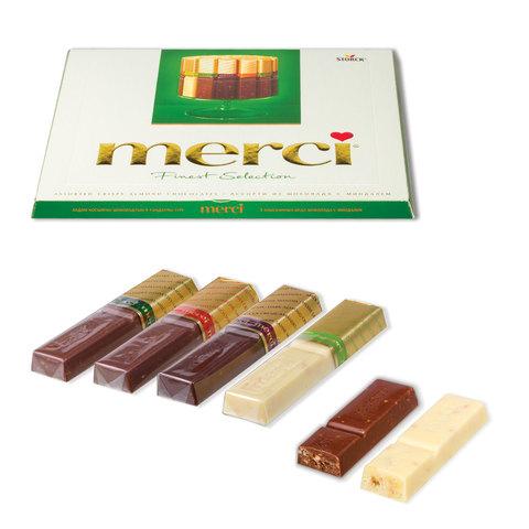 Конфеты шоколадные MERCI (Мерси), ассорти из шоколада с миндалем, 250 г, картонная коробка, 014457-20