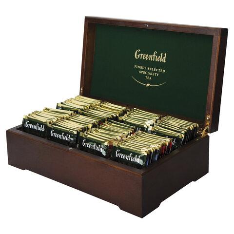 Чай GREENFIELD (Гринфилд), набор 96 пакетиков (8 вкусов по 12 пакетиков) в деревянной шкатулке, 177,6 г, 0463-10
