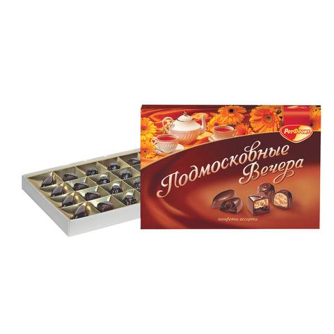 """Конфеты шоколадные РОТ ФРОНТ """"Подмосковные вечера"""", ассорти, 200 г, картонная коробка, РФ10656"""