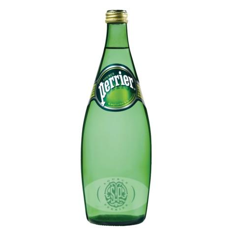 Вода газированная минеральная PERRIER (Перье), 0,75 л, стеклянная бутылка, Франция, WPERNP-075B12