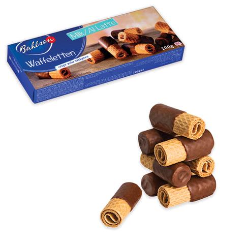 """Вафли BAHLSEN (Бальзен) """"Waffeletten Milk"""", вафельные трубочки в молочном шоколаде, 100 г, Германия, 4393"""