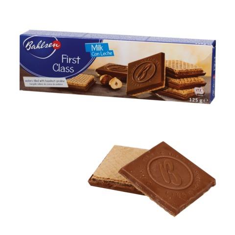 """Вафли BAHLSEN (Бальзен) """"First Class"""", хрустящие с молочным шоколадом, 125 г, Германия, 4389"""
