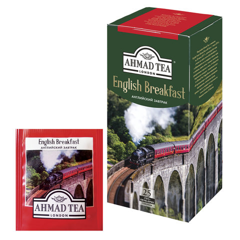 """Чай AHMAD (Ахмад) """"English Breakfast"""", черный, 25 пакетиков с ярлычками по 2 г, 590-012"""