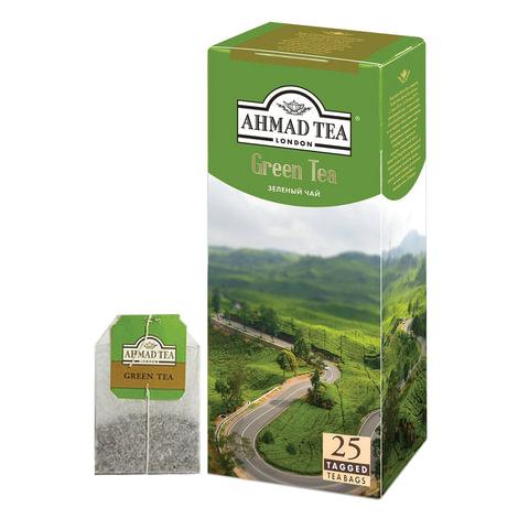 """Чай AHMAD (Ахмад) """"Green Tea"""", зеленый, 25 пакетиков с ярлычками по 2 г, 589-012"""