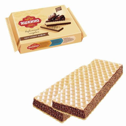 """Вафли ЯШКИНО """"Шоколайт"""", с прослойкой из шоколадной глазури, 180 г, КВ202"""