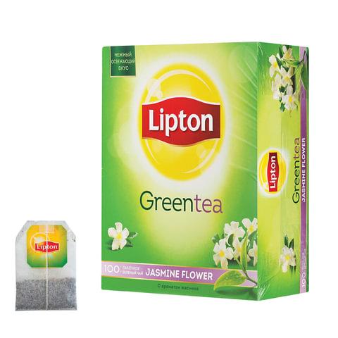 """Чай LIPTON (Липтон) """"Jasmine Flowers"""", зеленый с цветами жасмина, 100 пакетиков по 1,4 г, 21155433"""