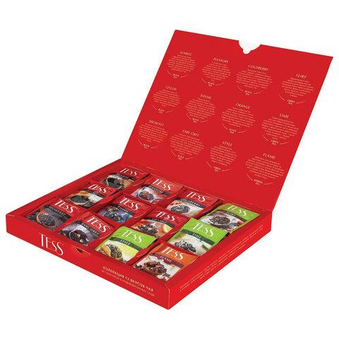 Чай TESS (Тесс), НАБОР 60 пакетиков (12 видов по 5 шт), 103 г, картонная коробка, 1175-12-3