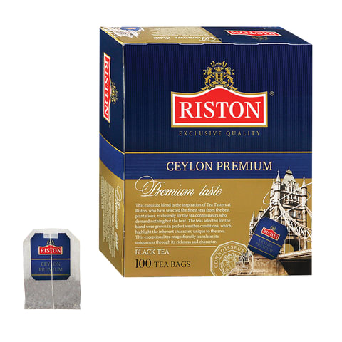 "Чай RISTON (Ристон) ""Ceylon Premium"", черный, 100 пакетиков по 2 г, RUCP100B/12"