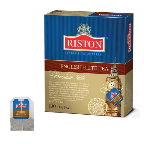 """Чай RISTON (Ристон) """"English Elite Tea"""", черный с бергамотом, 100 пакетиков по 2 г, RUEET100B/12"""