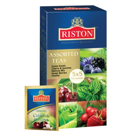 """Чай RISTON (Ристон) """"Assorted Teas"""", зеленый и травяной, ассорти 5 вкусов, 25 пакетиков по 1,5 г, RUTOO543"""