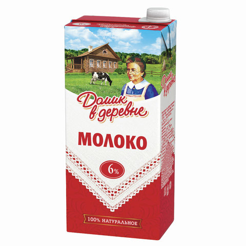 Молоко ДОМИК В ДЕРЕВНЕ, жирность 6%, ультрапастеризованное, картонная упаковка, 950 г, 5901