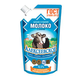 Молоко сгущенное АЛЕКСЕЕВСКОЕ, цельное с сахаром, жирность 8,5%, 270 г, дой-пак, 6661