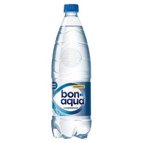 Вода газированная питьевая BONAQUA (БонАква), 1 л, пластиковая бутылка, 478305