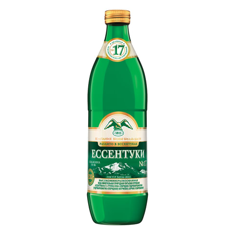 """Вода газированная минеральная ЕССЕНТУКИ """"№17"""", 0,54 л, стеклянная бутылка, 340025535"""