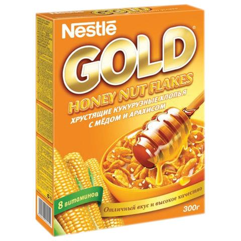 Хлопья NESTLE GOLD (Нестле Голд) кукурузные, с медом и арахисом, 300 г, картонная коробка, 12254821