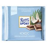 """Шоколад RITTER SPORT """"Кокос"""", молочный с начинкой, 100 г, Германия, RU2986"""