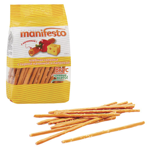 Хлебная соломка MANIFESTO, с сырной начинкой и паприкой, 150 г, 642