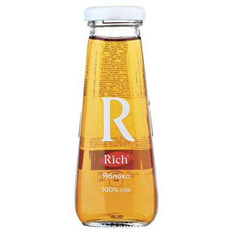 Сок RICH (Рич) 0,2 л, яблоко, подходит для детского питания, стеклянная бутылка, 1658301