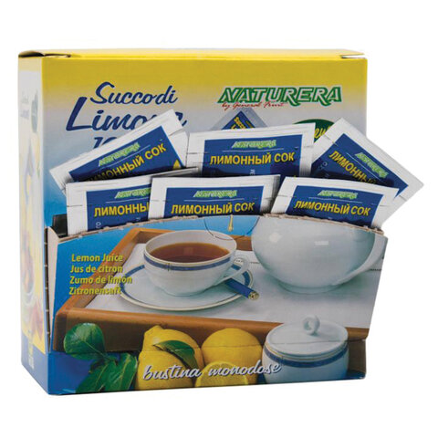 Лимонный сок NATURERA порционный, 25 пакетиков по 4 мл, шоу-бокс, LIM4М25