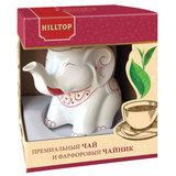 """Чай HILLTOP """"Земляника со сливками"""" черный листовой 80 г, фарфоровый чайник """"СЛОН ГРАНАТ"""" 650 мл, 15001"""