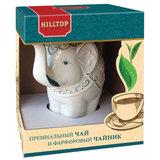 """Чай HILLTOP """"Подарок Цейлона"""", черный листовой, 80 г, фарфоровый чайник """"СЛОН ТОПАЗ"""", 650 мл, 15002"""