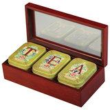 """Чай HILLTOP """"Tea"""", 3 чайницы с коллекцией листового чая в деревянной шкатулке, 150 г, F205"""