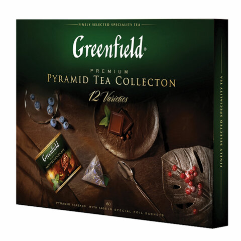 Чай GREENFIELD (Гринфилд), НАБОР 12 видов, 60 пирамидок, 110 г, картонная коробка, 1241-07-1