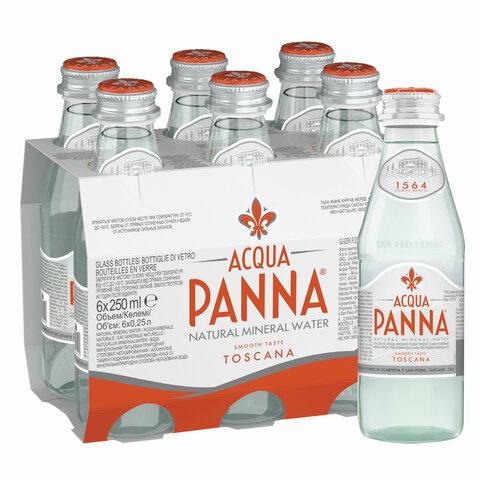 Вода негазированная минеральная ACQUA PANNA (Аква Панна), 0,25 л, стеклянная бутылка, ИТАЛИЯ, 40004001