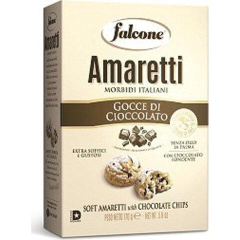 Печенье сахарное FALCONE Amaretti мягкие с шоколадом, 170 г, картонная упаковка, MC-00013543