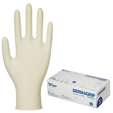 Перчатки латексные смотровые, КОМПЛЕКТ 50 пар (100 шт.), неопудренные, хлоринация, S, DERMAGRIP