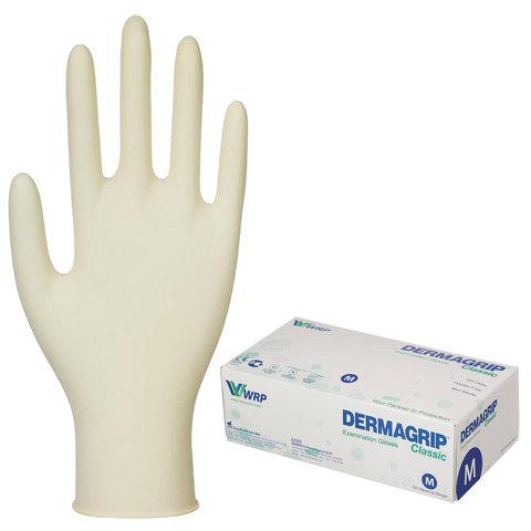 Перчатки латексные смотровые, КОМПЛЕКТ 50 пар (100 шт.), неопудренные, хлоринация, M, DERMAGRIP