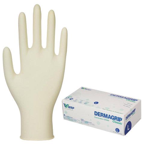 Перчатки латексные смотровые, КОМПЛЕКТ 50 пар (100 шт.), неопудренные, хлоринация, L, DERMAGRIP