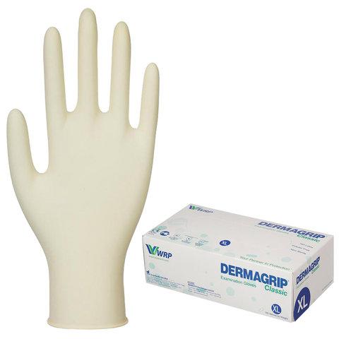 Перчатки латексные смотровые, КОМПЛЕКТ 50 пар (100 шт.), неопудренные, хлоринация, XL, DERMAGRIP