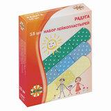 """Набор пластырей 15 шт. LEIKO """"Радуга"""", на полимерной перфорированной основе, 3 цвета, в картонной упаковке, 213534"""